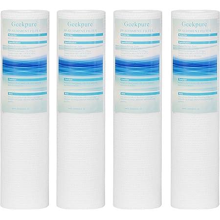 Geekpure Lot de 4 cartouches filtrantes à eau sédimentée en polypropylène 6,3 x 25,4 cm(2,5 x 10 pouces), 5 micron