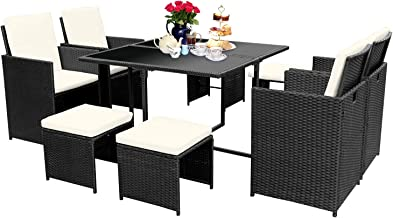 Viewee 9 Pieces Wicker Patio Dining Set, Indoor Outdoor Space-Saving Rattan Table & Chairs with Tempered Glass Top & Padde...