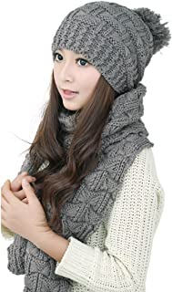 TCCSTAR Women Girls Knitted Hat Scarf Set Fashion Winter Warm Knitted Hat with Attached Scarf