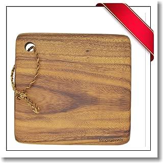 Innovatronix 1 Piece Handmade 10 Inches Wooden Acacia Square Block Cutting Board - Rustic Acacia Square Block Chopping Board - Butcher's Block - Meat Board   10x10x1 Inches