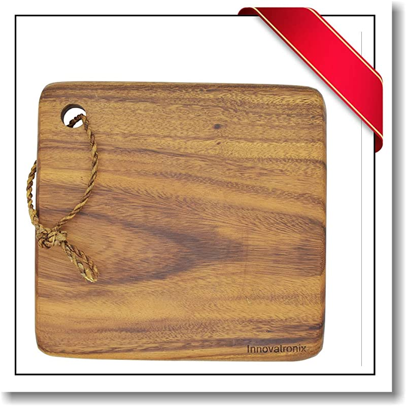 Innovatronix 1 Piece Handmade 10 Inches Wooden Acacia Square Block Cutting Board Rustic Acacia Square Block Chopping Board Butcher S Block Meat Board 10x10x1 Inches