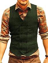 JYDress Men's Vest Waistcoat Slim Fit Suit Vest Herringbone Tweed Tuxedo Vest