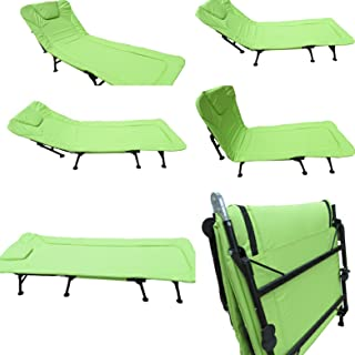 Amaze Folding Outdoor Camping Travelling sea Beach, Hotel, Hospital, Home Adjustable Padded Bed, Sun Lounger, Beach Lounger - Florescent Green