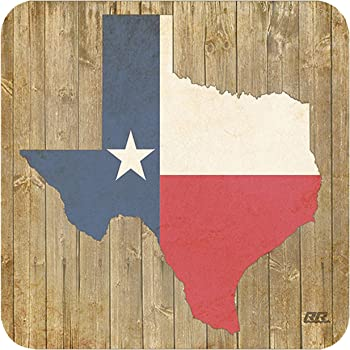 Texas State Flag Outline Rustic Wood Design Drink Coaster Set Gift For A Texan Lonestar Cowboy Home Kitchen Bar Barware