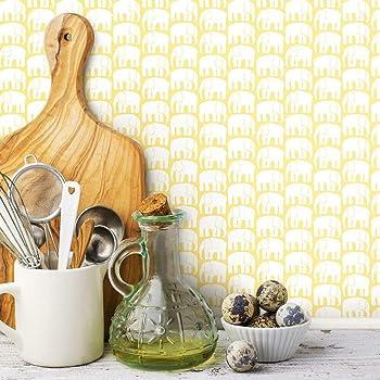 Amazon Com Finlayson Yellow White Elefantti Peel And Stick Removable Wallpaper Home Improvement
