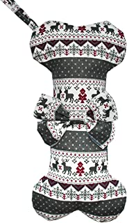 Malier Christmas Stockings with Classic Snowflake Pattern Hanging Socks for Xmas Decorations Dog Bone Shape Stocking for Dogs Cats Pets - Grey