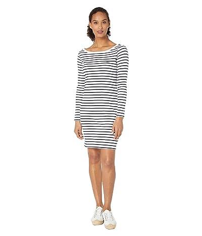 Lacoste Long Sleeve 1X1 Rib Boatneck Dress (Flour/Navy Blue) Women