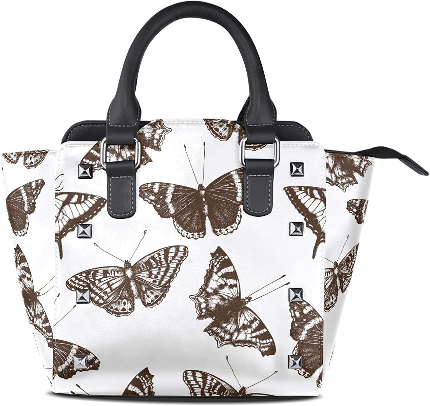 Sunlome Classic Butterflies Print Women's Leather Tote Shoulder Bags Handbags