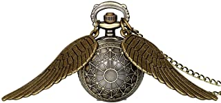 JewelryWe Vintage Retro Angel Wing Legendary Flying Ball Pendant Necklace Steampunk Pocket Watch for Valentine's Day (with Gift Bag)