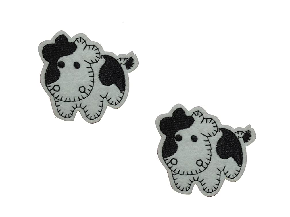 2 pieces BABY COW Iron On Patch Applique Farm Animal Motif Fabric Children Decal 1.8 x 1.7 inches (4.5 x 4.3 cm)