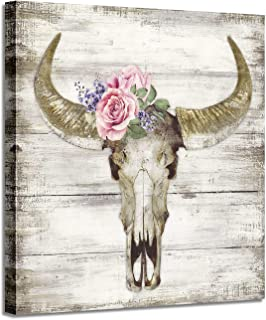 Buffalo Skull Canvas Art Prints: Wildlife Animal Cow Head Pictures with Flower Artwork Painting on Wrapped Canvas for Bedrooms (24'' x 24'')