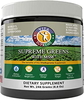 Supreme Greens with MSM Powder (60 Servings/One Month Supply): Nutrient Rich Dietary Supplement, All Natural Energy Boosting Superfood, 8 oz. Powder, Made in USA