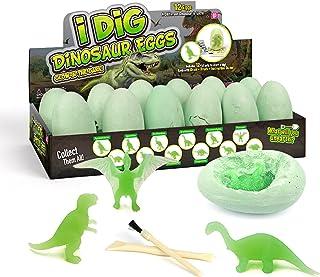 Dino Egg Dig Kit Night Glow Dinosaur Eggs 12 Dinosaur Excavation Kits with 12 Unique Dinosaur Toys Dinosaur Dig for Kids E...