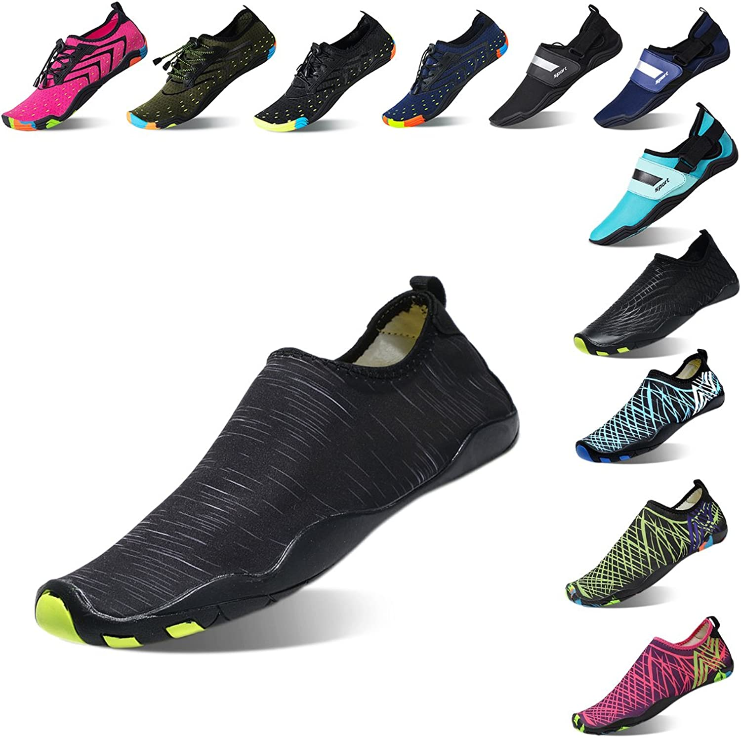 Lauwodun Womens and Mens Quick Dry Water shoes Barefoot Aqua Sock shoes for Beach Surfing Yoga Running Exercise-3black42