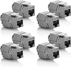 deleyCON 8X Module Keystone Cat 6a Jack - Blindé STP Connecteur RJ45 Installation Snap-in Montage Câble Brut Cat 500Mhz 10GBit/s