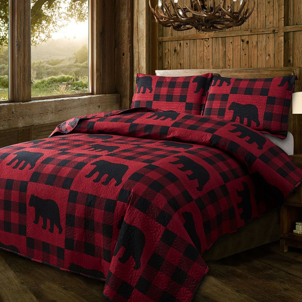Quilt Set Queen Size Rustic Bedding Black Plaid Buffalo Lodg Max 80% OFF Red Reservation