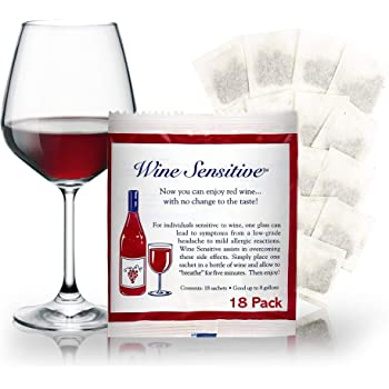 Wine Sensitive Ultimate Filter Sachet Wine Purifier And Sulfite Remover - Natural Ingredients Prevention Purifier Wine Filters Stops Red Wine Headaches (18-Pack)