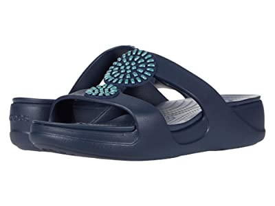 Crocs Monterey Diamante Slip-On Wedge (Navy) Women