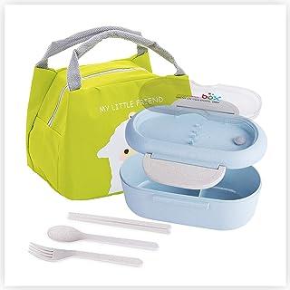 PROKITCHEN Lunch Box + Sac Isotherme, Bento Box sans BPA Inclus 3 Couverts Lunch Box Enfant, Zéro Déchet - Micro-Ondes & L...