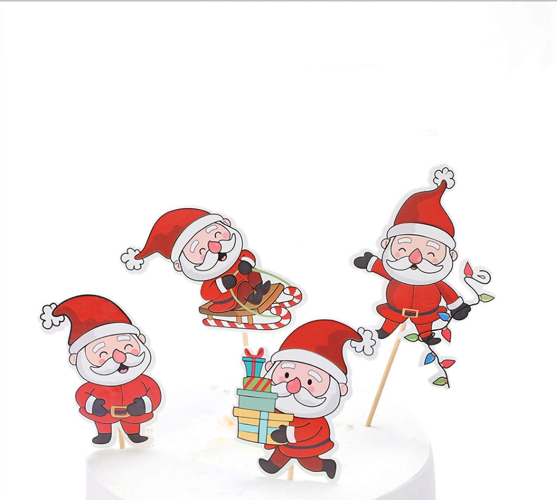 5 piezas de decoraci/ón de pastel de Navidad Pap/á Noel dando regalos para decoraci/ón de torta de Navidad tem/ática de fiesta decoraci/ón roja de Navidad ambiente arreglo