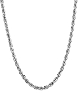 14k White Gold 5.5mm Rope Chain Necklace