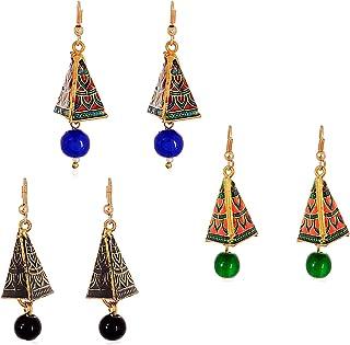 Geode Delight Meenakari earring combo set of 3 for Women and Girls