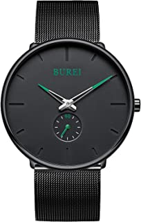 Men's Fashion Minimalist Wrist Quartz Watches with Stainless Steel Black Dial and Mesh Band
