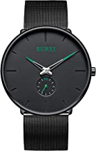 BUREI Men's Fashion Minimalist Wrist Quartz Watches with Stainless Steel Black Dial and Mesh Band