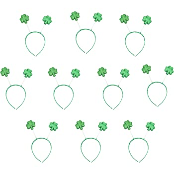 Patricks Day Decoration Kit Patricks Day Necklaces Green Bead Necklace for St Patricks Day Party Favor Supply 6 Shamrock Headband Bopper Glitter Irish Green Head Bopper and 12 St 18 Pieces St