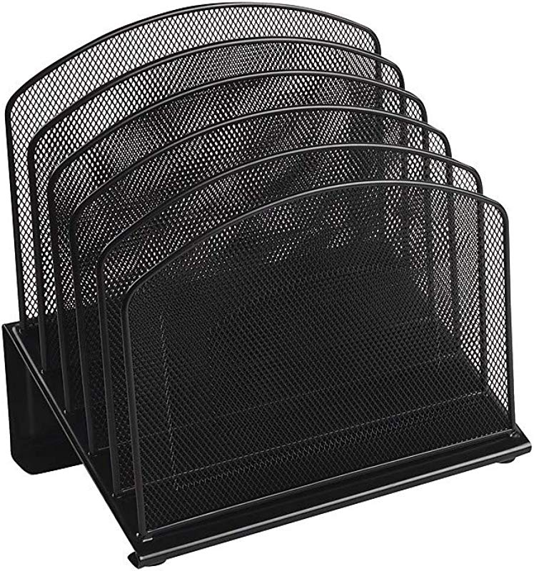 Staples 828565 Black Wire Mesh 5 Section Incline Sorter