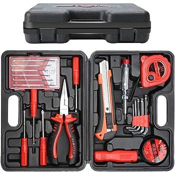 PetHot 12PCS caja de herramientas básica profesional DIY set con destornilladores diarios Fix repair Home mano llevar hogar: Amazon.es: Bricolaje y herramientas
