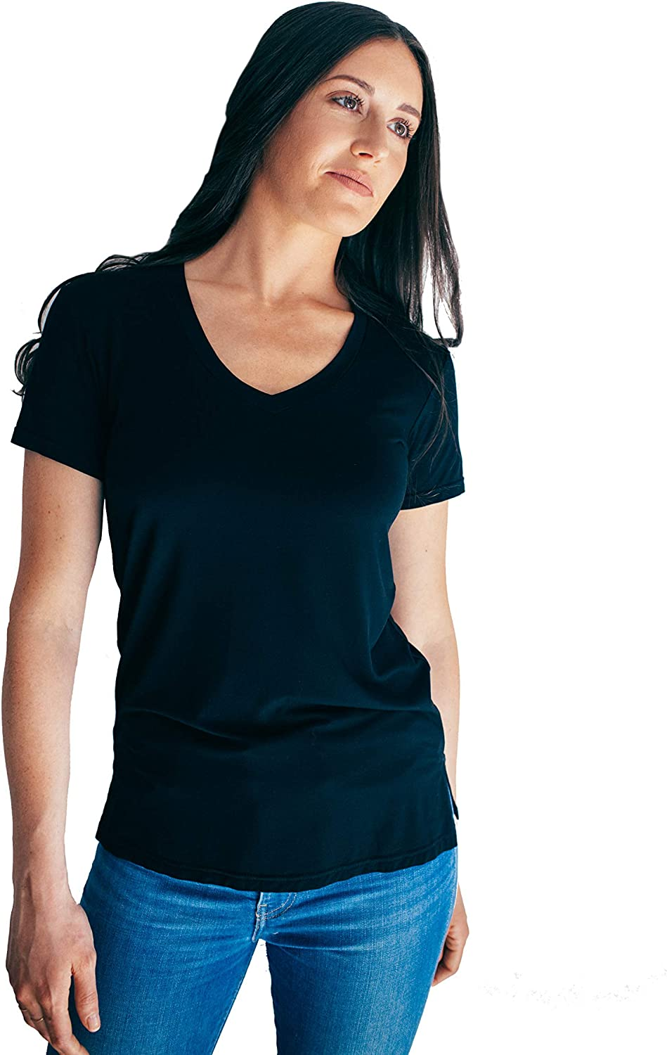 bluee & Butter Women's Modal VNeck Short Sleeve TShirt   Soft Plain Loose Relaxed Everyday Essential Tee for Women