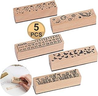 Timbro sigillante per Fai da Te e progetti di Scrapbooking in Gomma Rotondi Gaocunh Timbri in Legno 6 Pezzi Motivo Floreale