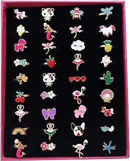 Elesa Miracle 36pcs Children Kids Little Girl Adjustable Jewelry Rings in Box, Mermaid Puppy Panda Unicorn Flamingo Girl Pretend Play Dress up Jewelry Rings