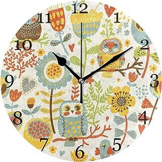 Blommiga löv färgglad uggla väggklocka tyst icke-tickande 25 cm rund klocka akrylkonst målning hem kontor skoldekor