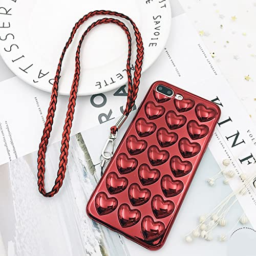 Luxury iPhone 7 Plus Case, iPhone 8 Plus Case, GIZEE Bling Cute 3D Stereoscopic Heart Shaped Electroplated Shockproof Soft TPU Protective Phone Cover & Skin 5.5 Inch (Red)