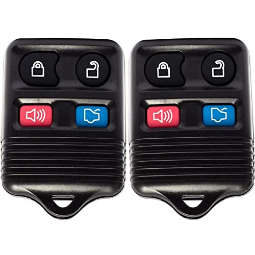 Holder Case Cover Clicker Transmitter 3-Button Best for Ford Lincoln Mazda Mercury Fobs Control Battery /& Hardware Chip Replacement Keys Car Accessories Pack of 2 Key Fob Keyless Entry Remote