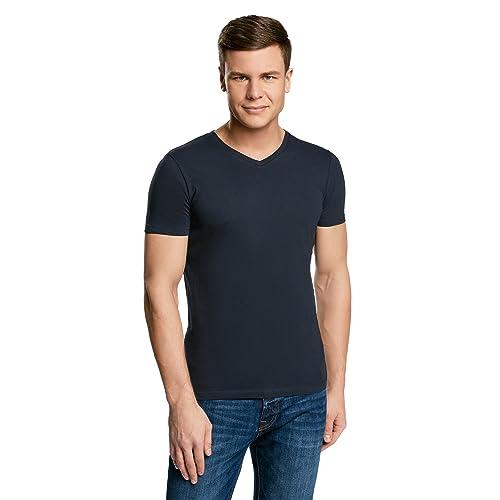 40119c7a4f5 oodji Ultra Hombre Camiseta Básica con Escote en V