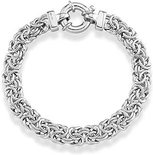 925 Sterling Silver Italian 9mm Classic Byzantine Link Chain Bracelet for Women 7, 7.25, 7.5, 8 Inch Handmade in Italy