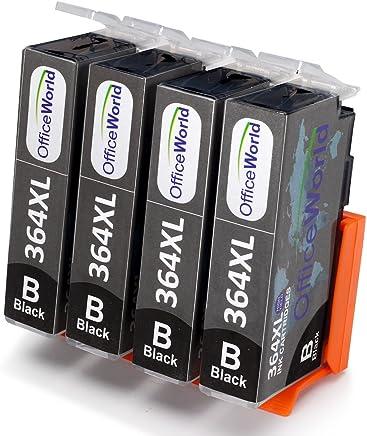 OfficeWorld Reemplazo para HP 364 364XL Negro Cartuchos de tinta Alta Capacidad para HP Photosmart 5520 5510 5522 5524 6520 7510 7520, HP OfficeJet 4620, HP Deskjet 3070A