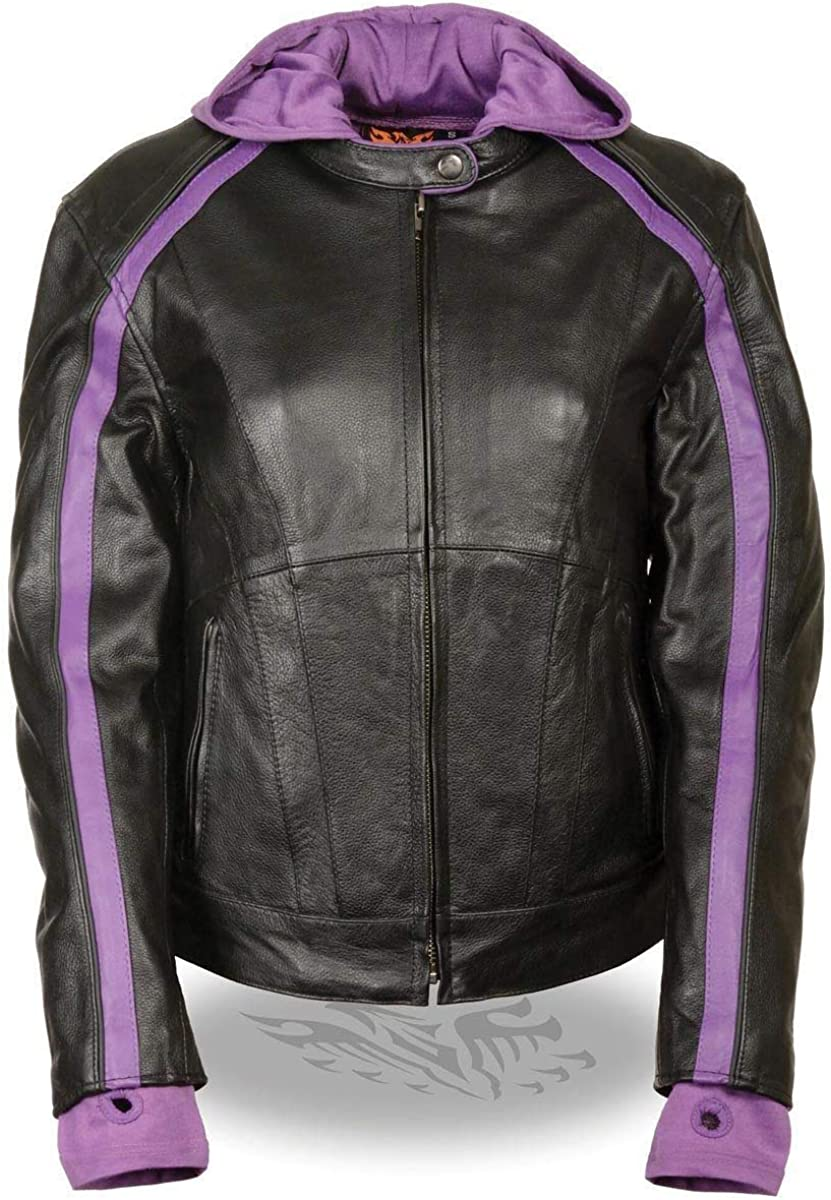 Milwaukee Leather SH1951 Women's Black and Pink Striped Leather Jacket with Zip-Out Hoodie
