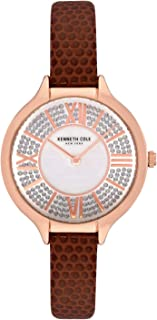 Kenneth Cole Women's Classic Mop Crystal Dial KC51054006 Brown Leather Quartz Fashion Watch