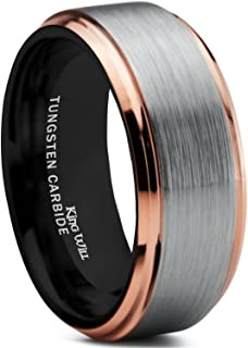King Will Duo Mens 8mm Brushed Finish Tungsten Carbide Ring 18K Rose Gold Plated Comfort Fit Wedding Band Black Inside