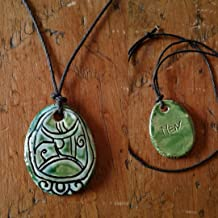 Mayan MEN Necklace Mesoamerican Tzolk'in Day Sign EAGLE Glyph Ceramic Amulet Turquoise Green Clay Pendant