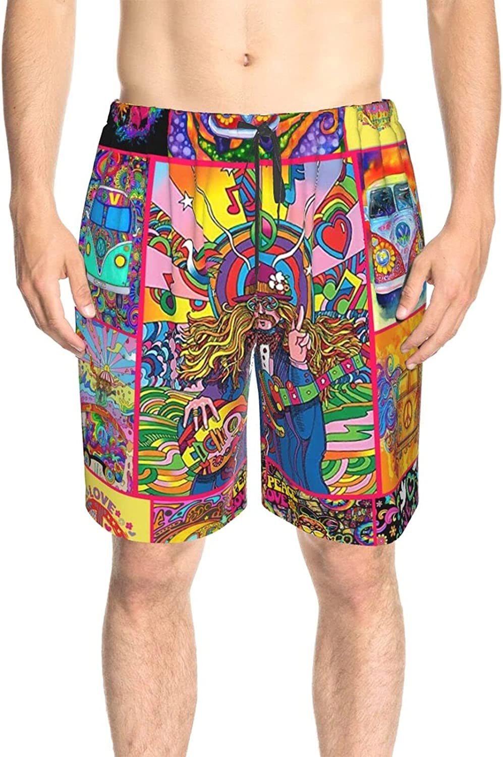 Men's Swim Trunks Colorful Peace and Love World Bathing Suit Boardshorts Quick Dry Comfy Board Shorts Swimwear