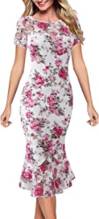 VFSHOW Womens Elegant Vintage Cocktail Party Bodycon Mermaid Midi Mid-Calf Dress