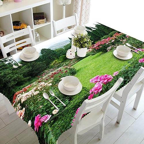 HUANZI Tischdecke Ostern frühling Tischdecke 3D Park Ecke Digital Printing StaubgeschüTzte, Handgehaltene Rechteckige, Rectangular Width 178cmx Long 274cm