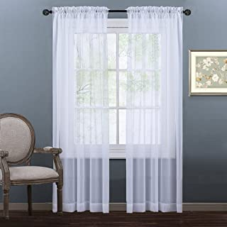 """NICETOWN Sheer Curtains 84"""" Long for Living Room, Soft Voile Textured Sheer Curtains Window Treatment Privacy with Enough Light for Playroom, White, 60"""" Wide Each Panel (Total 2 Pieces = W120)"""