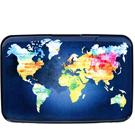 Aluminum Wallet RFID Blocking Slim Metal Credit Card Holder Hard Case, Hand Drawn Watercolor World Map, S