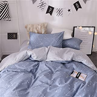VM VOUGEMARKET 3 Piece Duvet Cover Sets Queen,100% Cotton Constellation Pattern Design Duvet Cover with 2 Pillowcases,Reversible Stripes Printed Bedding Set(Queen,Constellation)